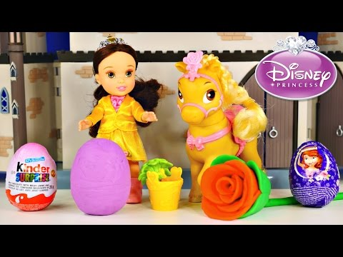 Beauty And The Beast Belle Petite Pony Playdough Disney Princess Kinder Surprise Eggs Play Doh Sofia