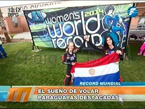 Dos paraguayas estuvieron en el récord mundial de paracaidismo 13/01/2015