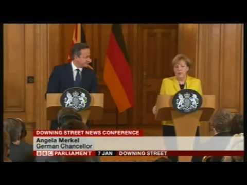 David Cameron and Angela Merkel joint news conference 7 January