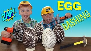 BASHING Giant Magical Chocolate Eggs with Surprise Toys Inside!