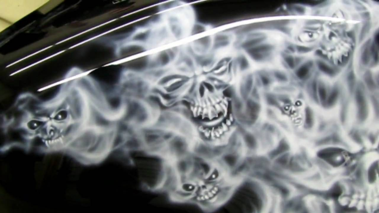 Airbrushed Skulls And Smoked Flames Motorcycle Www