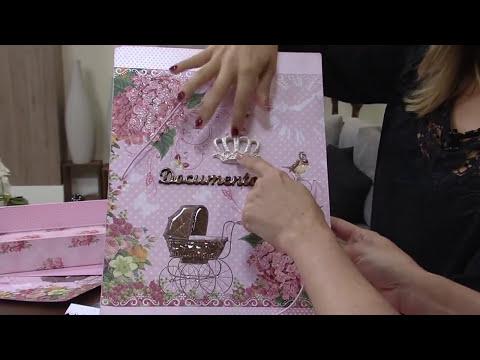 Mulher.com 23/05/2014 - Collete pasta porta documentos do bebe MDF