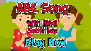 ABC Song with Hindi Subtitles - Nursery Rhymes & Songs in HD