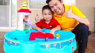 Lyndon and Uncle Having Fun with Paw Patrol Water Table