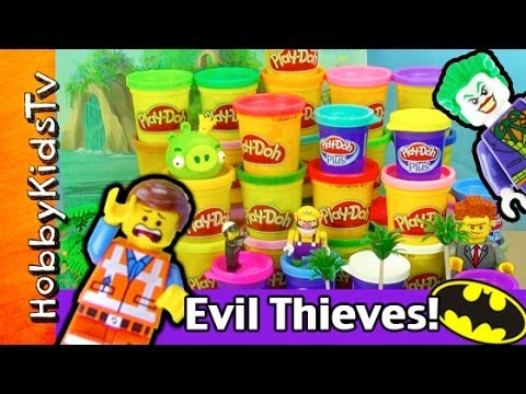 Lego Emmet, Batman, Spiderman Save Play-doh! Joker,lord Business Steal Play-doh Part. 1 Hobbykids video