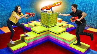 NERF Battle At The VOLCANO Challenge!