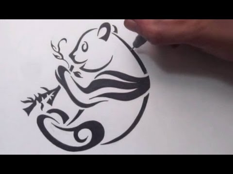 How to Draw a Panda - Tribal Tattoo Design Style