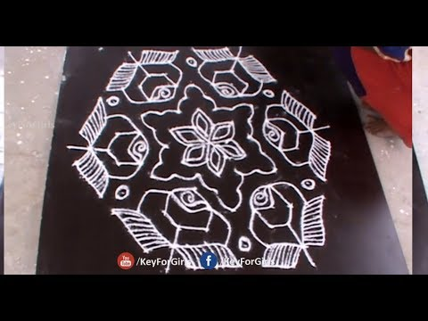 Flower Rangoli With 15 to 8 dots | Rose Flower Kolam Designs with 15 - 8 Middle | Key For Girls