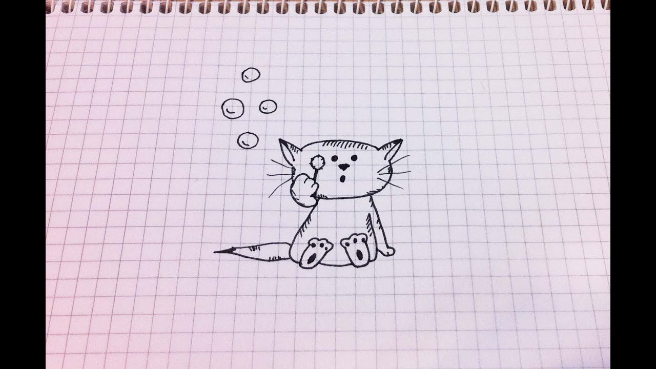 Рисунки в карандаше на тетрадном листе