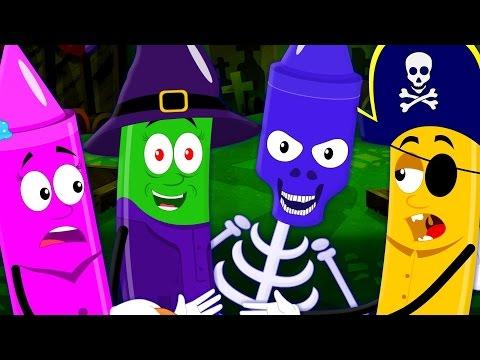 halloween night   scary rhymes   nursery rhymes   crayons color song