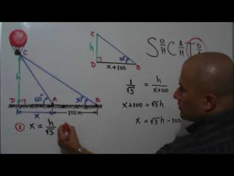 Problema trigonomtrico con tringulos rectngulos-Problem with trigonometric right triangle