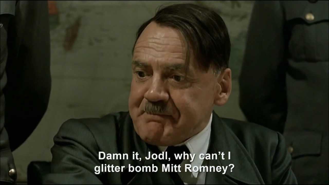 Hitler glitter bombs Mitt Romney