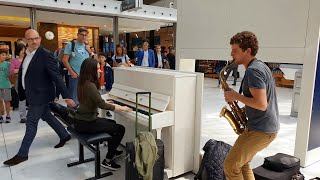 This is amazing! A spontaneous piano/sax performance with Ladyva at Charles de Gaulle airport