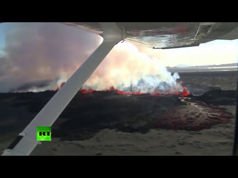 Aerial images of volcano Bardarbunga, feared to disrupt worldwide air traffic
