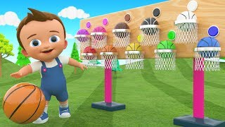 Little Baby Fun Play Learning Colors for Children with Basket Balls 3D Wooden Toy Set for Kids Edu