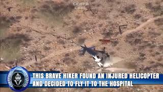 Brave woman rescues injured helicopter.