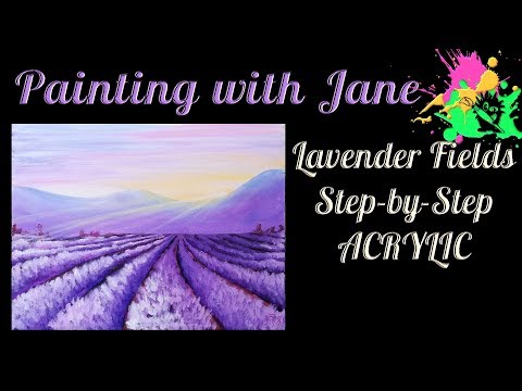 Lavender Fields Sunrise Step by Step Acrylic Painting on Canvas for Beginners