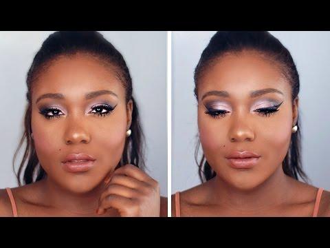 Flawless Foundation  + Romantic Pinks Makeup Tutorial // Black Women Makeup ( Dark Skin)