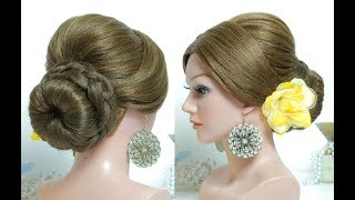 Bridal hairstyle for long hair tutorial. Wedding prom updo with braid