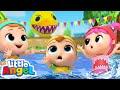 Baby Shark Doo Doo | Swimming Pool Games | Little Angel Kids Songs thumbnail
