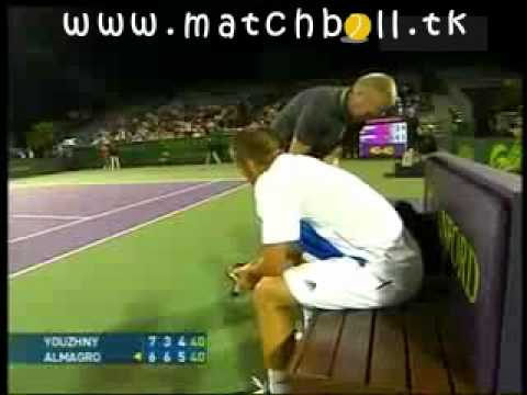 CRAZY Tennis Player Mikhail Youzhny beats himself bloody -- must see this idiot