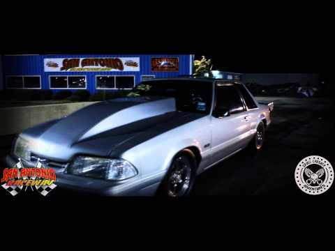 Wicked Fast 5.8L Mustang Fox Body@ San Antonio Raceway- Midnight Madne