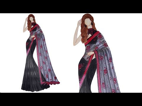 Fashion illustration: black saree design
