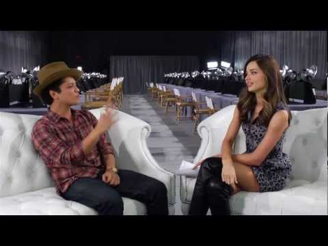 Miranda Kerr and Bruno Mars Backstage at the 2012 Victoria