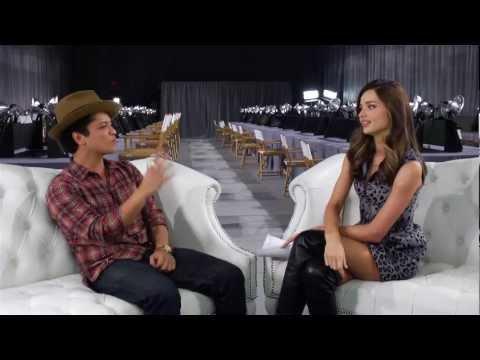 Miranda Kerr and Bruno Mars Backstage at the 2012 Victoria's Secret Fashion Show