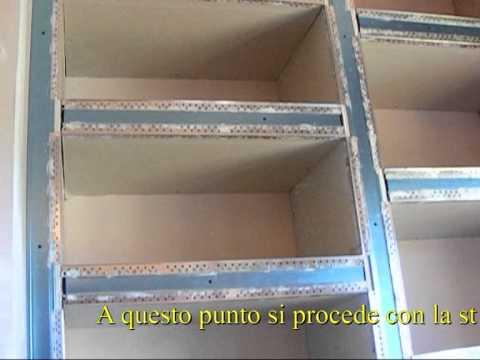 Libreria in cartongesso youtube for Parete attrezzata fai da te