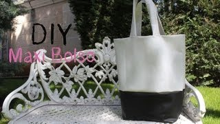 DIY: Maxi bolso de cuero blanco y negro / DIY leather black and white bag