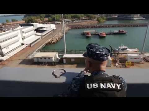 USS Green Bay docks in Darwin for Talisman Sabre 15