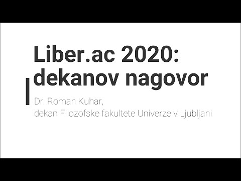 Nagovor dekana Filozofske fakultete UL ob otvoritvi spletnega sejma akademske knjige Liber.ac 2020