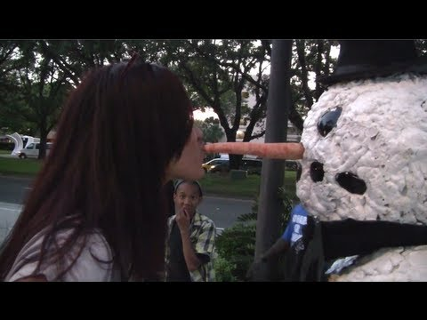 Girls Get Scared Stiff Funny Prank With A Snowman video
