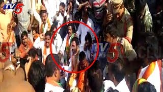 BJP MLA Kishan Reddy Protests Against Sand Mafia At Kamareddy