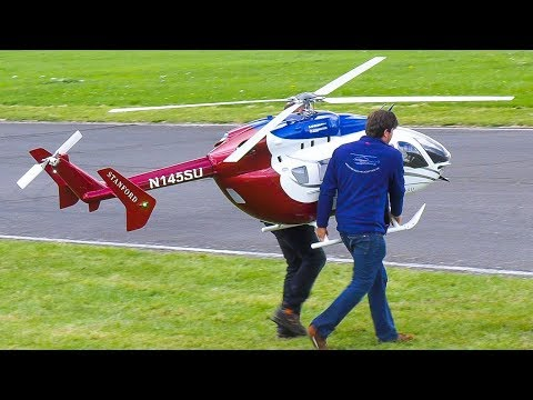 WORLD`S LARGEST RC MODEL TURBINE HELICOPTER EC 145 EUROCOPTER!! / Jet Power Fair 2017