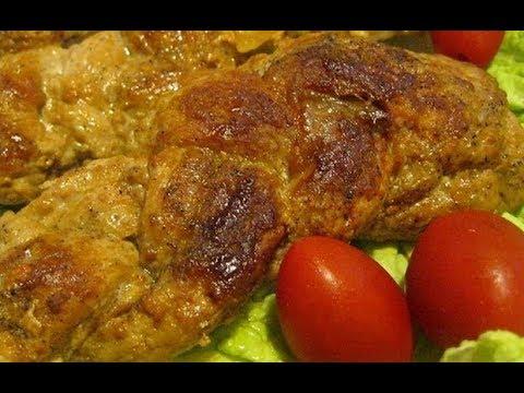 Мясная косичка в духовке. Мясная косичка в маринаде. Мясо в духовке.