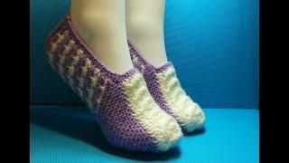 Вязание спицами домашние тапочки#200