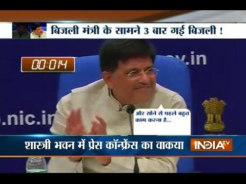 Power Minister Piyush Goyal faces power cut during press conference