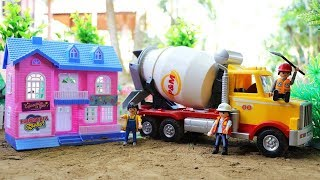 Toys Cement Mixer Truck Build A Home | Playmobil Car Toys | Dump Truck , Crane Truck