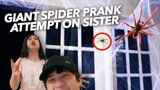 GIANT SPIDER PRANK ATTEMPT ON SISTER | Ranz and Niana