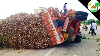 lorry accident with sugarcane load / truck accident with heavy load sugarcane - Come To Village