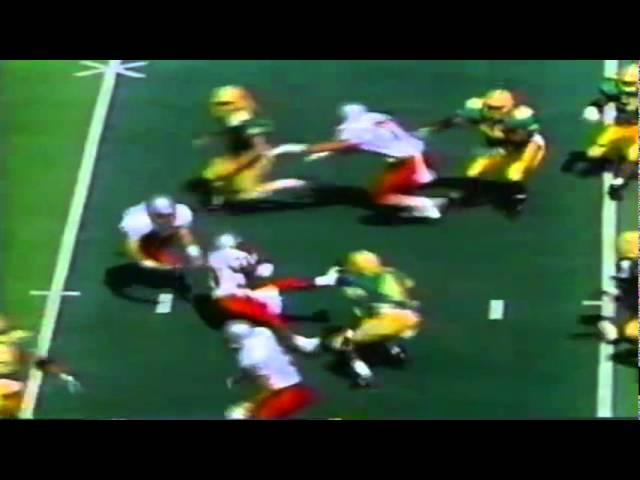 UNLV's QB bludgeons his own tailback with the football vs. Oregon 9-26-1992