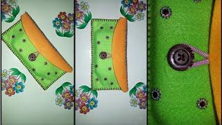 DIY phone bag / wallet from fabric - cara membuat dompet dari flanel