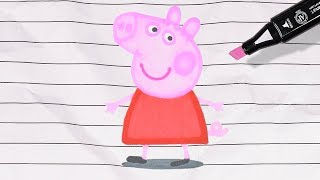 Let's Paint a Living Peppa Pig! Learn Colors for Kids