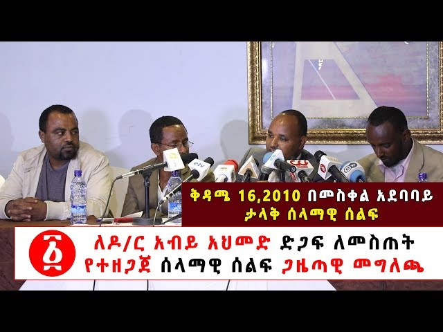 Press Release For Peaceful Demonstration To Support PM Abiy Ahmed