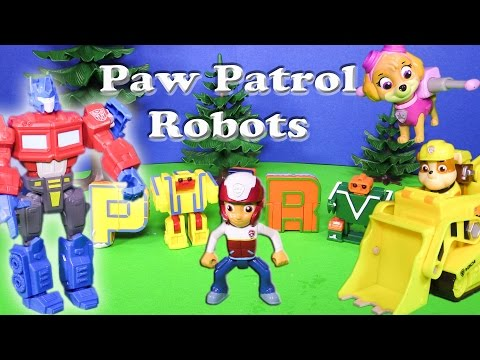 Paw Patrol Uses Transforming Letters with the Transformers Toy Parody