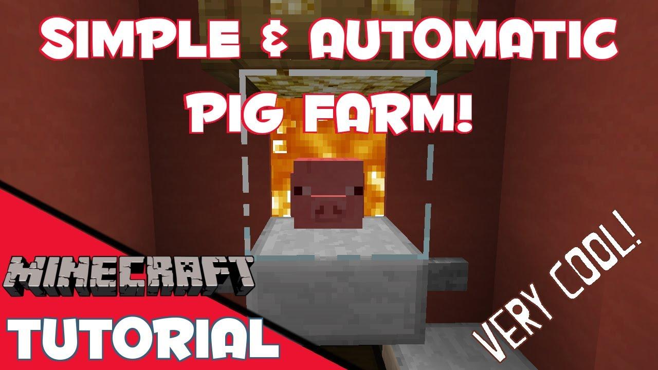 Minecraft: Simple & Automatic Pig Farm - YouTube