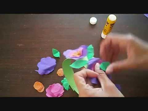 זר פרחים מנייר קרפ