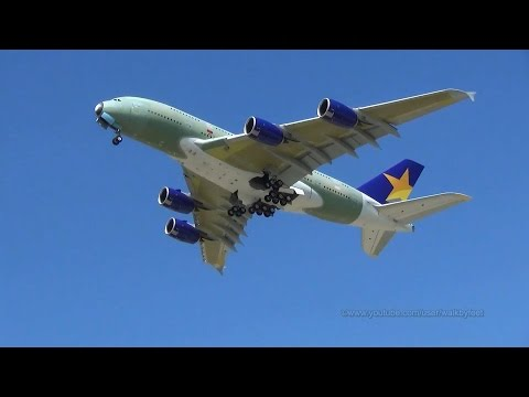 Skymark Airlines A380 JA380A in primer takeoff at Hamburg Finkenwerder